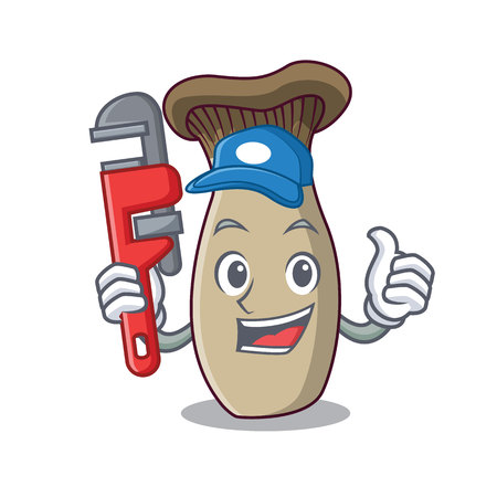 Plumber king trumpet mushroom mascot cartoon vector illustration
