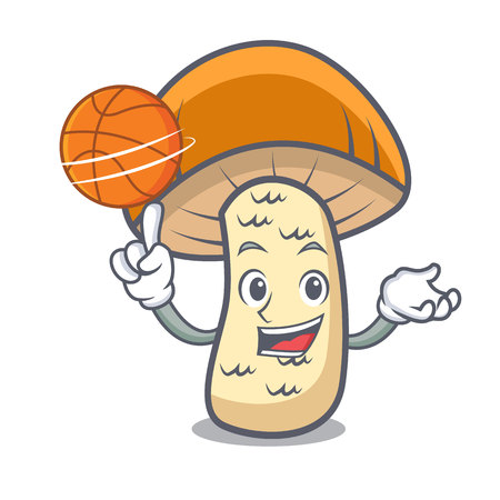 With basketball orange cap boletus mushroom character cartoon vector illustration