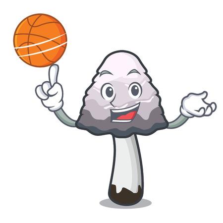 With basketball shaggy mane mushroom character cartoon vector illustration