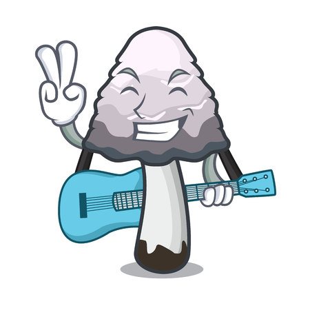 With guitar shaggy mane mushroom mascot cartoon vector illustration