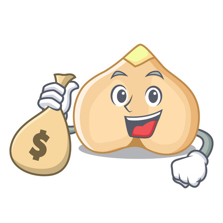 With money bag chickpeas character cartoon style