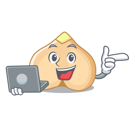 With laptop chickpeas character cartoon style