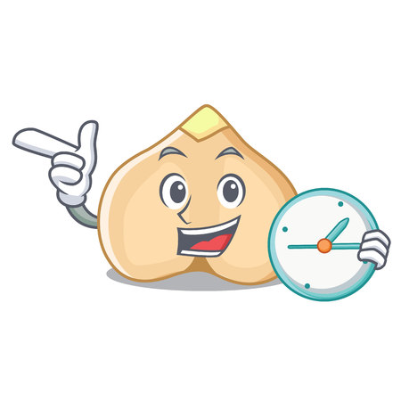 With clock chickpeas character cartoon style