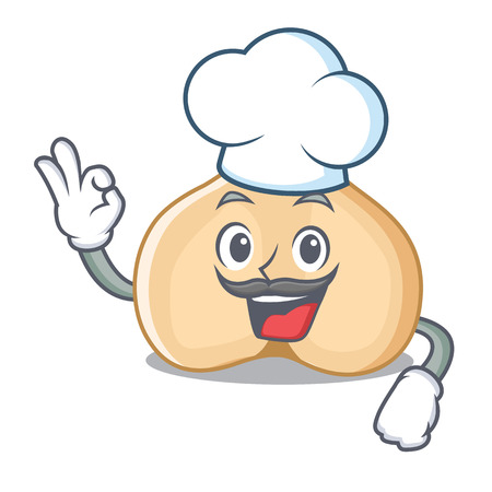 Chef chickpeas character cartoon style Illustration