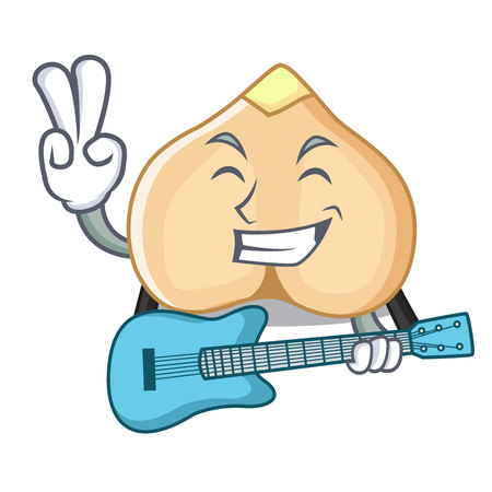 With guitar chickpeas mascot cartoon style