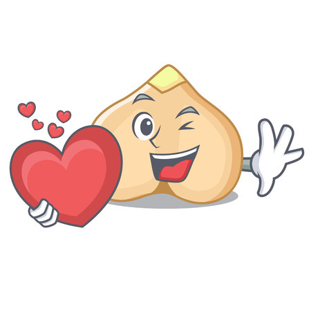 With heart chickpeas mascot cartoon style