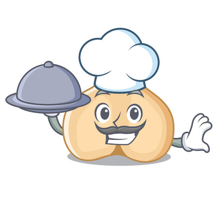 Chef with food chickpeas mascot cartoon style Illustration