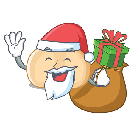 Santa with gift chickpeas mascot cartoon style