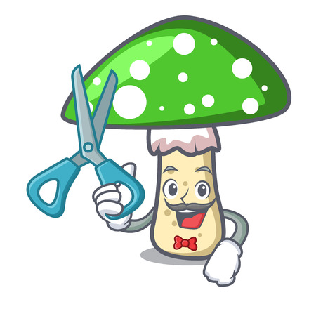 Barber green amanita mushroom character cartoon