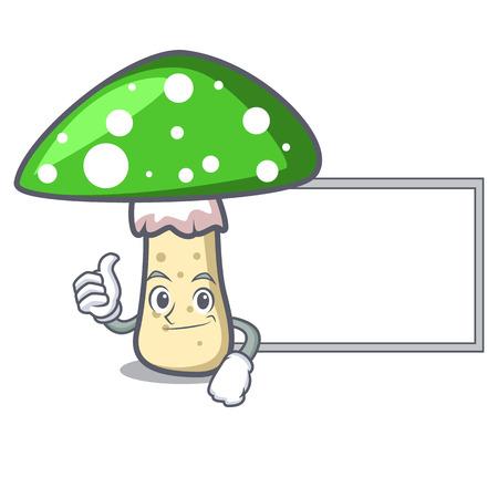 Thumbs up with board green amanita mushroom character cartoon