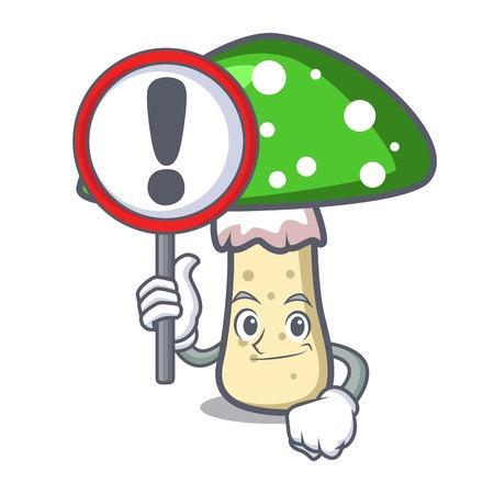 With sign green amanita mushroom character cartoon Illustration