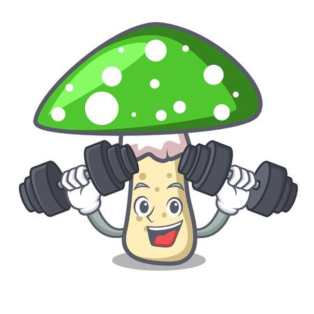 Fitness green amanita mushroom character cartoon