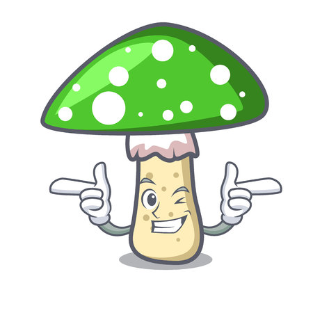 Wink green amanita mushroom character cartoon Ilustração