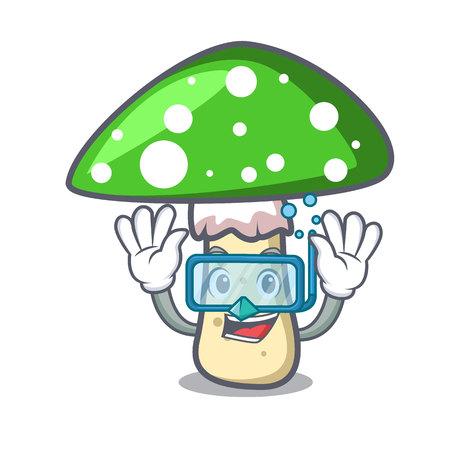 Diving green amanita mushroom character cartoon