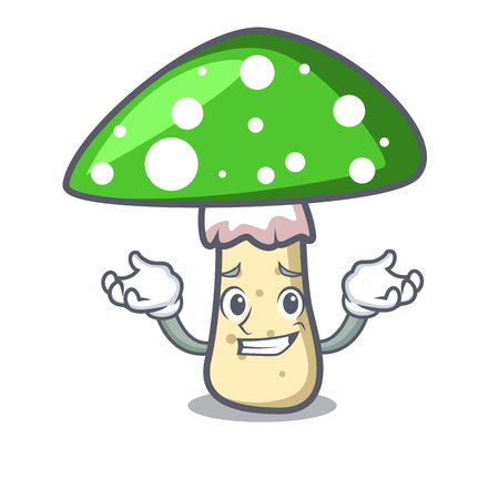 Grinning green amanita mushroom character cartoon