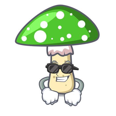 Super cool green amanita mushroom character cartoon Illusztráció