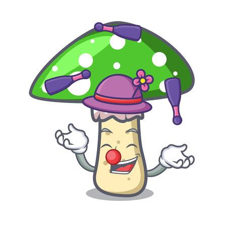 Juggling green amanita mushroom mascot cartoon