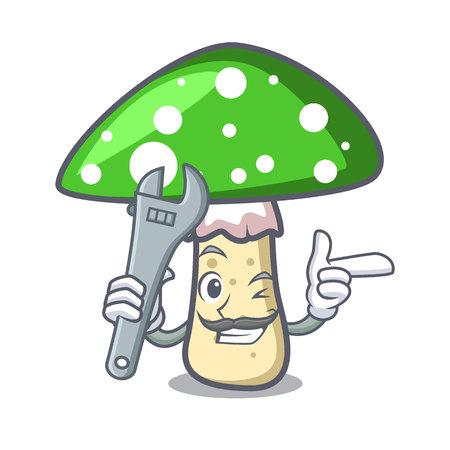 Mechanic green amanita mushroom mascot cartoon