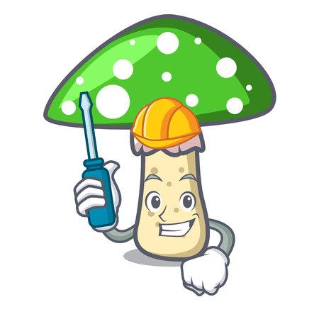 Automotive green amanita mushroom mascot cartoon