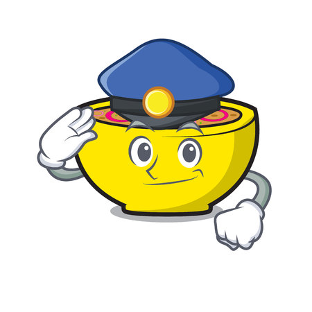 Police soup onion character cartoon vector illustration