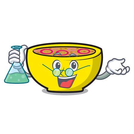 Professor soup onion character cartoon vector illustration
