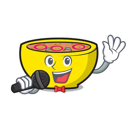 Singing soup onion mascot cartoon vector illustration