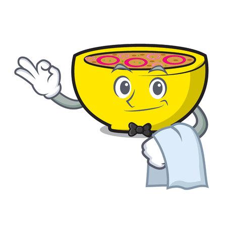 Waiter soup onion mascot cartoon vector illustration