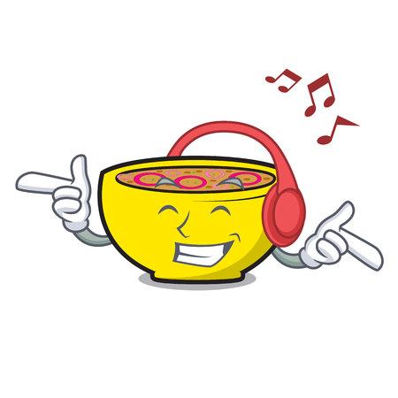 Listening music soup onion mascot cartoon vector illustration