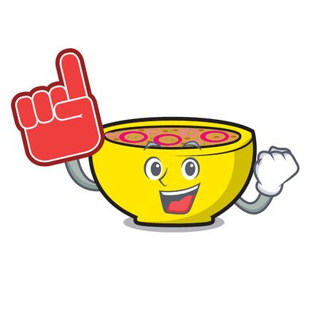 Foam finger soup onion mascot cartoon vector illustration