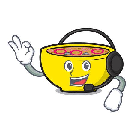 With headphone soup onion mascot cartoon vector illustration