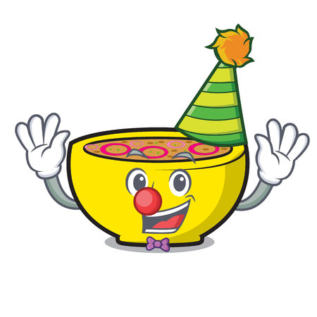 Clown soup onion mascot cartoon vector illustration Ilustração