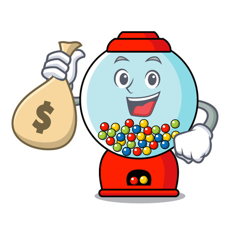 With money bag gumball machine character cartoon
