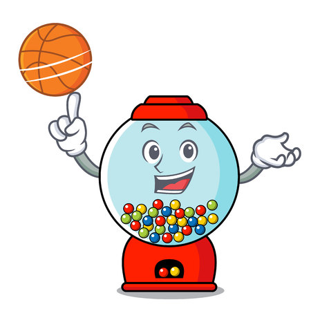 With basketball gumball machine character cartoon Banque d'images - 103553854
