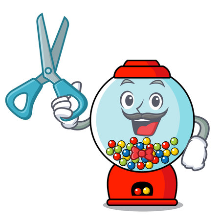 Barber gumball machine character cartoon Illustration