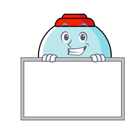 Grinning with board gumball machine character cartoon