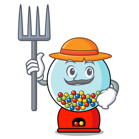 Farmer gumball machine character cartoon Banque d'images - 103553866