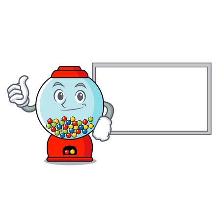 Thumbs up with board gumball machine character cartoon