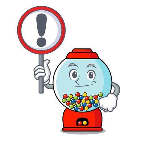 With sign gumball machine character cartoon Illustration