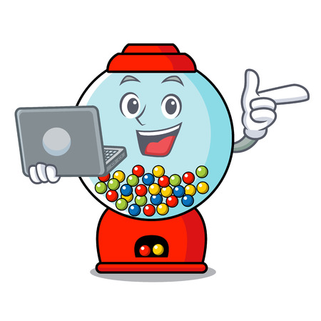 With laptop gumball machine character cartoon Banque d'images - 103553805