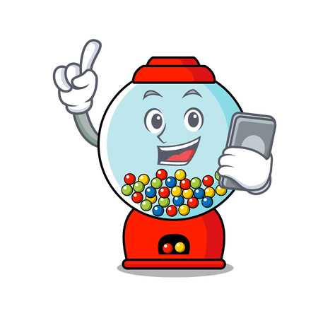 With phone gumball machine character cartoon Banque d'images - 103553807