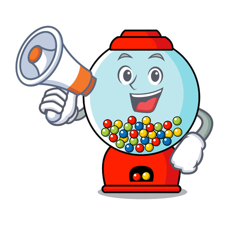 With megaphone gumball machine character cartoon Banque d'images - 103553808