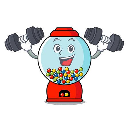 Fitness gumball machine character cartoon