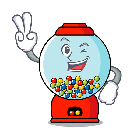 Two finger gumball machine character cartoon