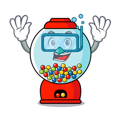 Diving gumball machine character cartoon Illustration