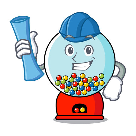 Architect gumball machine character cartoon vector illustration Banque d'images - 103553755