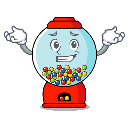 Grinning gumball machine character cartoon vector illustration