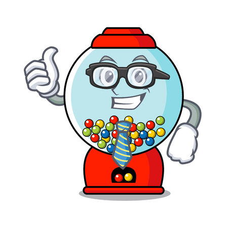 Businessman gumball machine character cartoon vector illustration