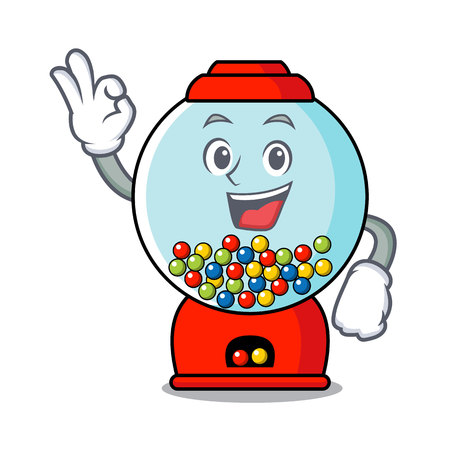 Okay gumball machine character cartoon vector illustration Ilustração