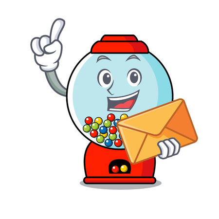 With envelope gumball machine character cartoon vector illustration