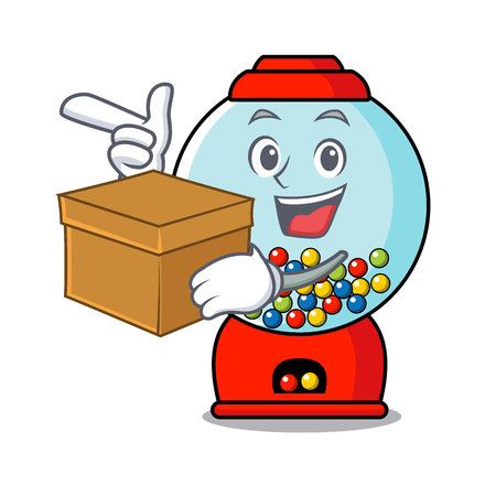 With box gumball machine character cartoon vector illustration Banque d'images - 103553767